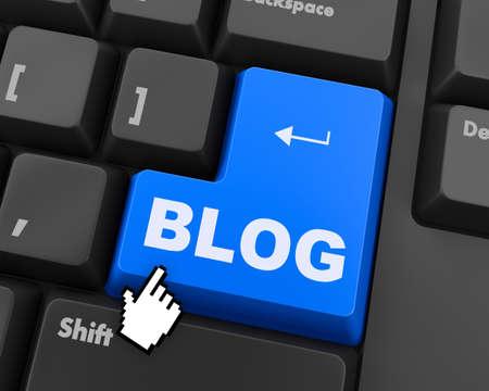 keyboard button: 3d blue keyboard button - blog concept