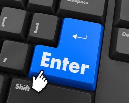 enter button: Text enter button 3d render Stock Photo