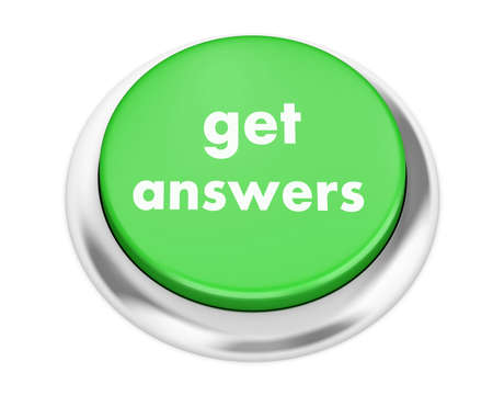 inquire: get answers button on isolate white background Stock Photo