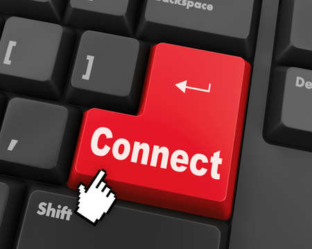 command button: Connect to cloud concept on button of the keyboard