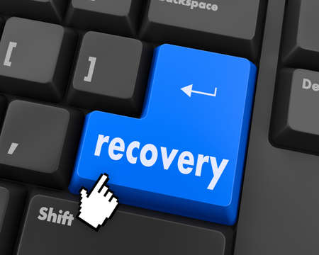 data recovery: Business concept: Recovery key on the computer keyboard