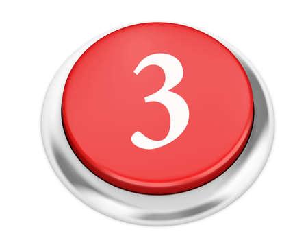 number 3: number 3 button 3d render