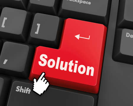 solving: solving a problem with solution button on computer