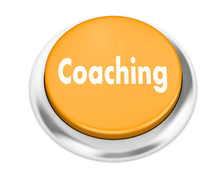 career coach: Coaching  button on isolate white background Stock Photo