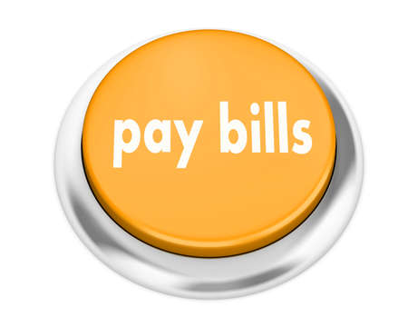 pay bills: pay bills button on isolate white background Stock Photo