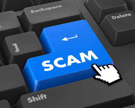 hustle: Scam Computer Keys Showing Swindles And Fraud Stock Photo