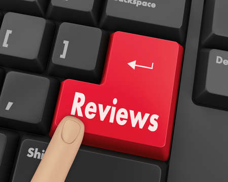 analisys: Text reviews button 3d render