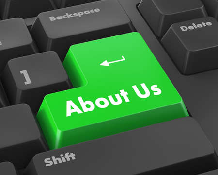 business contact: A about us message on keyboard, internet or online contact through website. Stock Photo