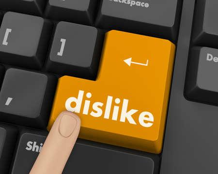 anti: dislike key on keyboard for anti social media concepts