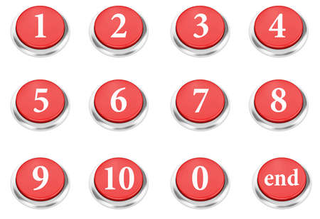number button: number button Isolated On White 3d render