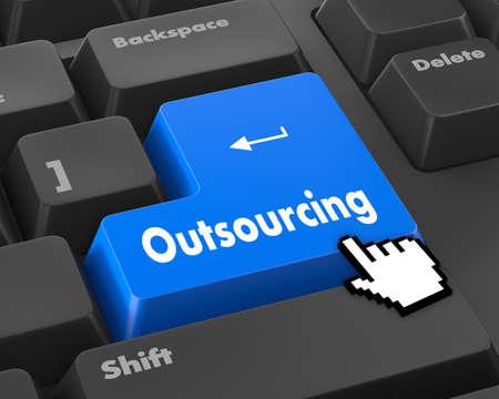 trabajando en computadora: Ilustración del teclado con la redacción de Outsourcing