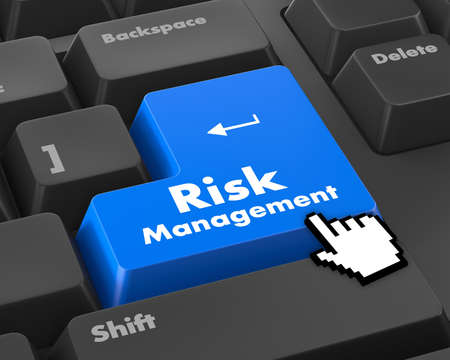 competitividad: Orange Risk Management Button on Computer Keyboard. Business Concept.