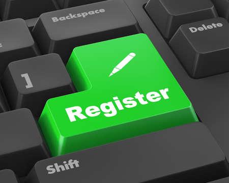 user name: Closeup of register key in a modern keyboard, raster