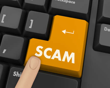 computer keys: Scam Computer Keys Showing Swindles And Fraud Stock Photo