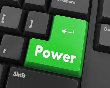 power button: Text power button 3d render