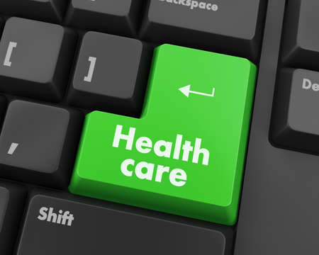 commentary: Text health care button 3d render