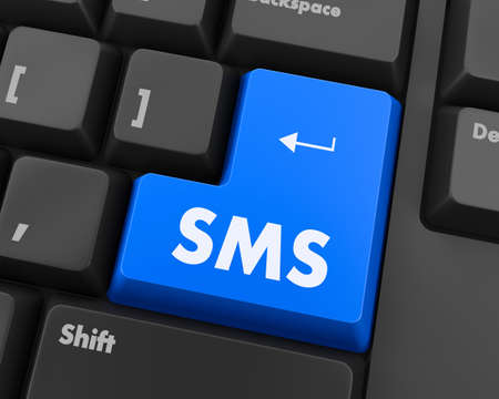 sms: Text sms button 3d render Stock Photo