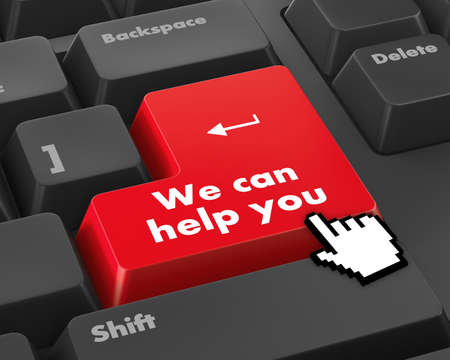 we can help you written on computer button