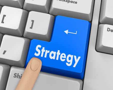 computer button: Strategy Concept. Button on Modern Computer Keyboard with Word Strategy on It. Stock Photo