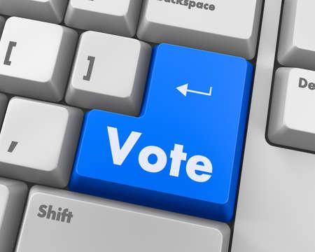 option key: Text vote button 3d render Stock Photo