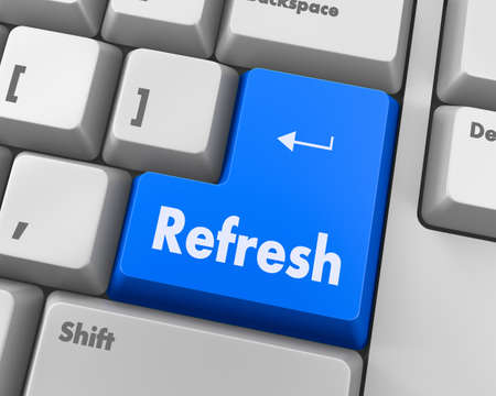 refresh button: Text refresh button 3d render Stock Photo
