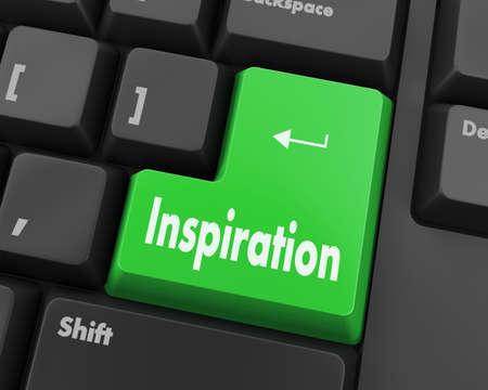 teclado de computadora: Botón de la inspiración del texto 3d rinde