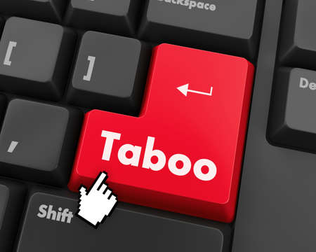taboo: Text taboo button 3d render