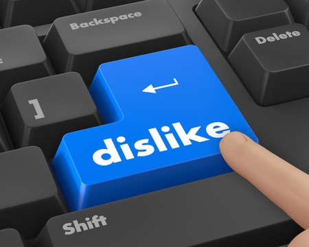 enemy: dislike key on keyboard for anti social media concepts
