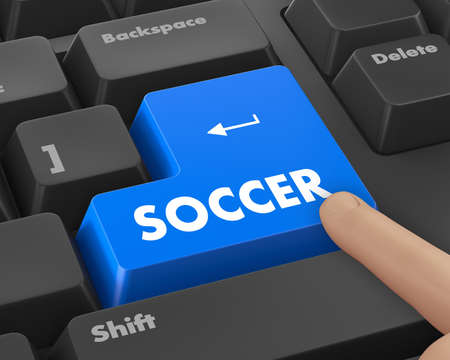 soccer 3d isolated button Stock Photo