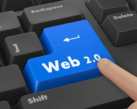 20: Text web 2.0 button 3d render Stock Photo