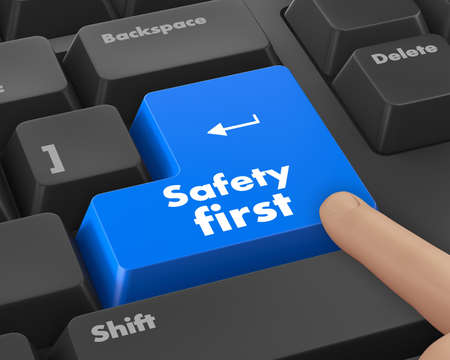 health fair: safety first concept with red key on computer keyboard Stock Photo