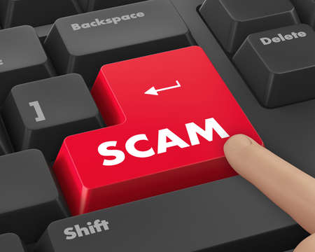 scam: Scam Computer Keys Showing Swindles And Fraud Stock Photo