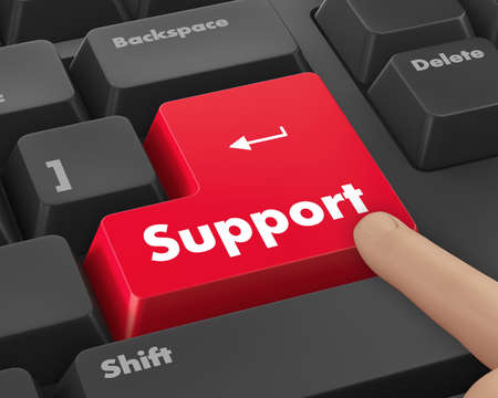 solve problem: support keyboard button 3d render Stock Photo