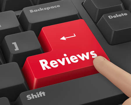 computer services: Text reviews button 3d render