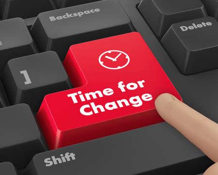 Notion Timeline: clavier d'ordinateur avec l'icône de l'horloge et le mot Time for Change sur le bouton Enter fond, 3D, render Banque d'images - 43756872