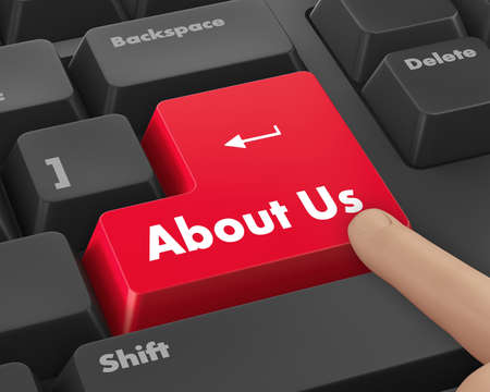 A about us message on keyboard, internet or online contact through website. Stock Photo