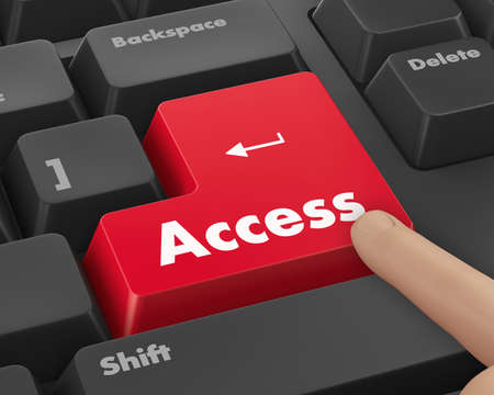 logon: Text access button 3d render