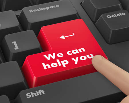 button computer: we can help you written on computer button