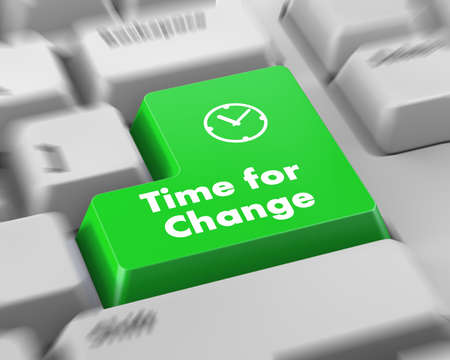 by change: Timeline concept: computer keyboard with Clock icon and word Time for Change on enter button background, 3d render