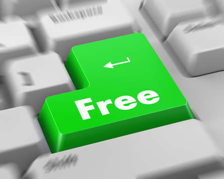 free button: Text free button 3d render