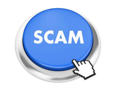 con man: scam button on isolate white background