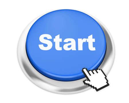 START button on isolate white background Stock Photo