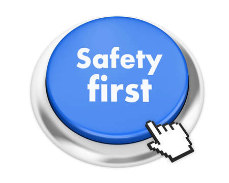 health fair: safety first button on isolate white background