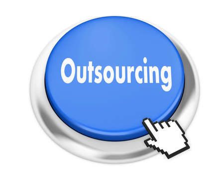 call centers: Outsourcing button on isolate white background