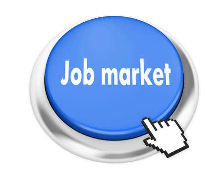 job market: Job market button on isolate white background