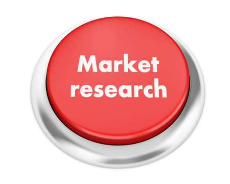Text market research button 3d render