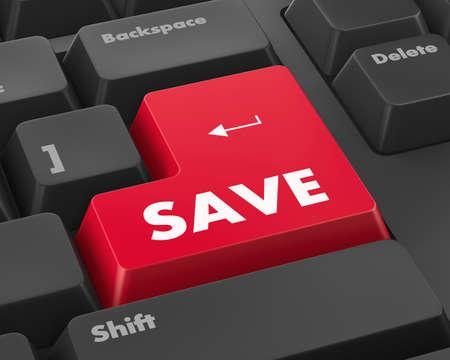 Text save button 3d render