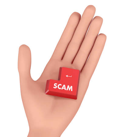 dishonesty: scam button on isolate white background