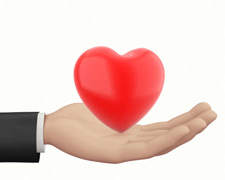 matrimony: Man hand and  Red heart  isolated on white Stock Photo