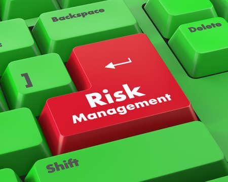 damage control: Orange Risk Management Button on Computer Keyboard. Business Concept.